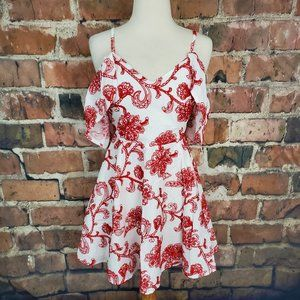 DO+BE Dress Red White Floral S NWT